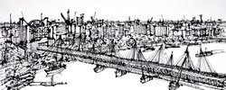 Golden Jubilee Hungerford Bridge by Ingo -  sized 60x24 inches. Available from Whitewall Galleries